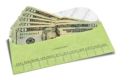 cash envelope system with cash